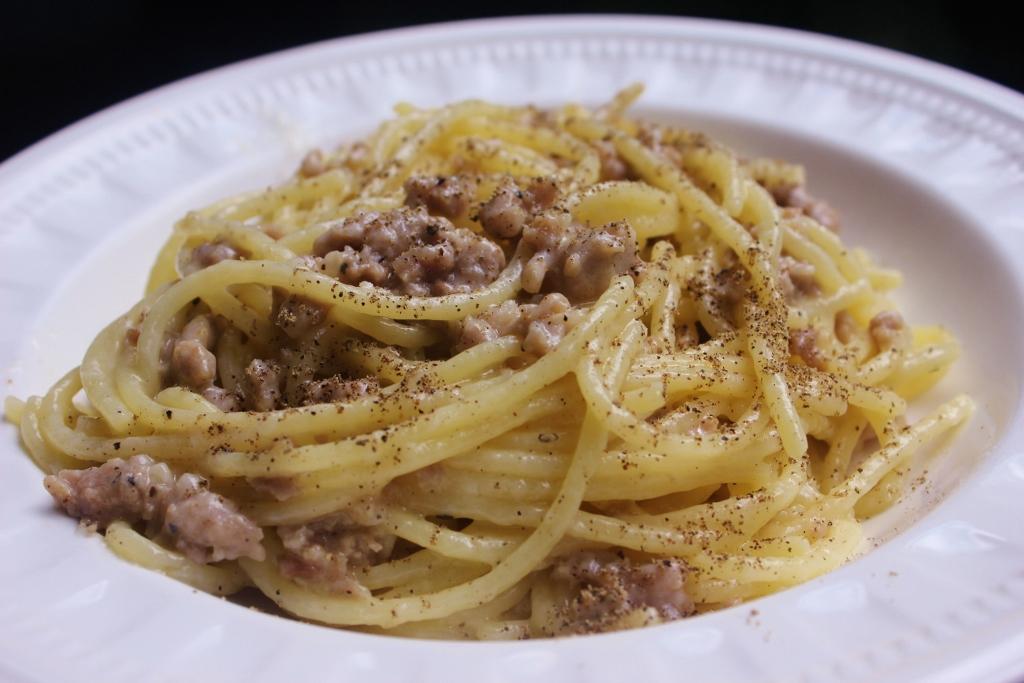 Spaghetti Cacio, Pepe e Salsiccia (Cheese, Black Pepper ...