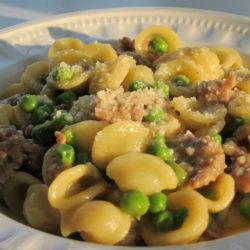 Orecchiette con Salciccia e Piselli (Sausage and Peas)
