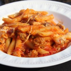 Penne con Salsiccia, Pomodorini, e Mozzarella Affumicata (Sausage, Cherry Tomatoes, Smoked Mozzarella)