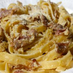 Fettuccine alla Papalina (Prosciutto and Egg)