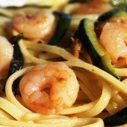 Linguine con Zucchine e Gamberetti (Zucchini and Shrimp)