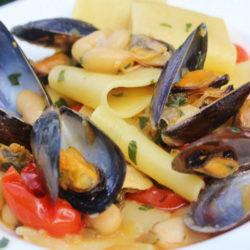 Paccheri con le Cozze e Fagioli (Mussels and Beans)