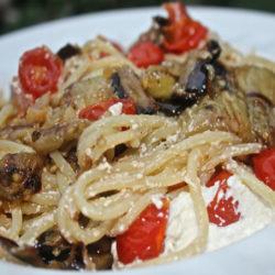 Spaghetti con Melanzane Grigliate, Ricotta e Pomodorini (Grilled Eggplant)