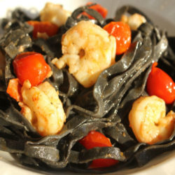 Tagliatelle Nere con Gamberi (Squid Ink with Shrimp)