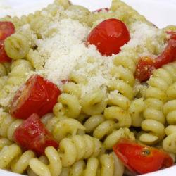 Fusilli al Pesto con Pomordorini (cherry tomatoes)